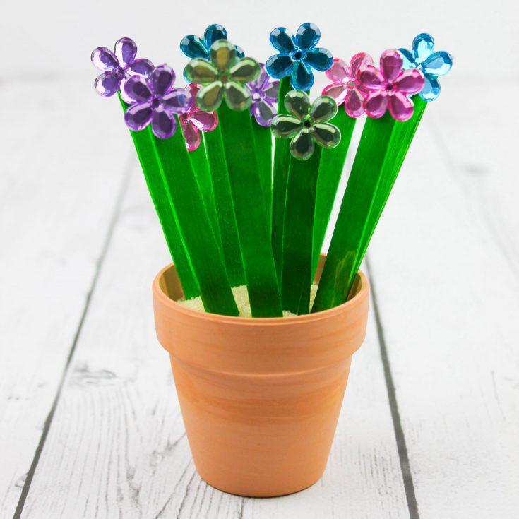 Easy Spring Flower Popsicle Stick Craft for Kids