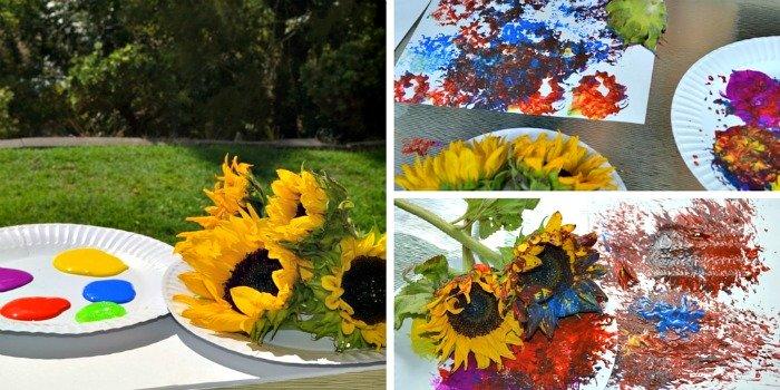 Preschool Painting with Flowers