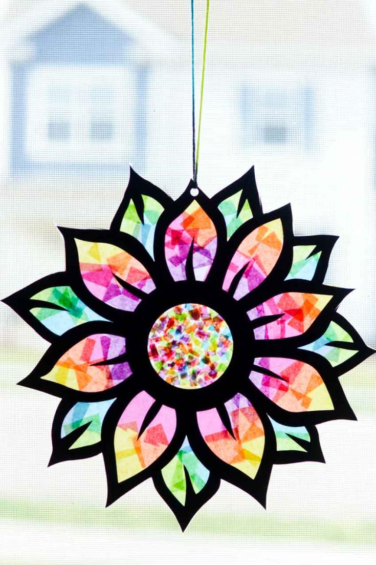 Tissue Paper Stained Glass Flower Craft