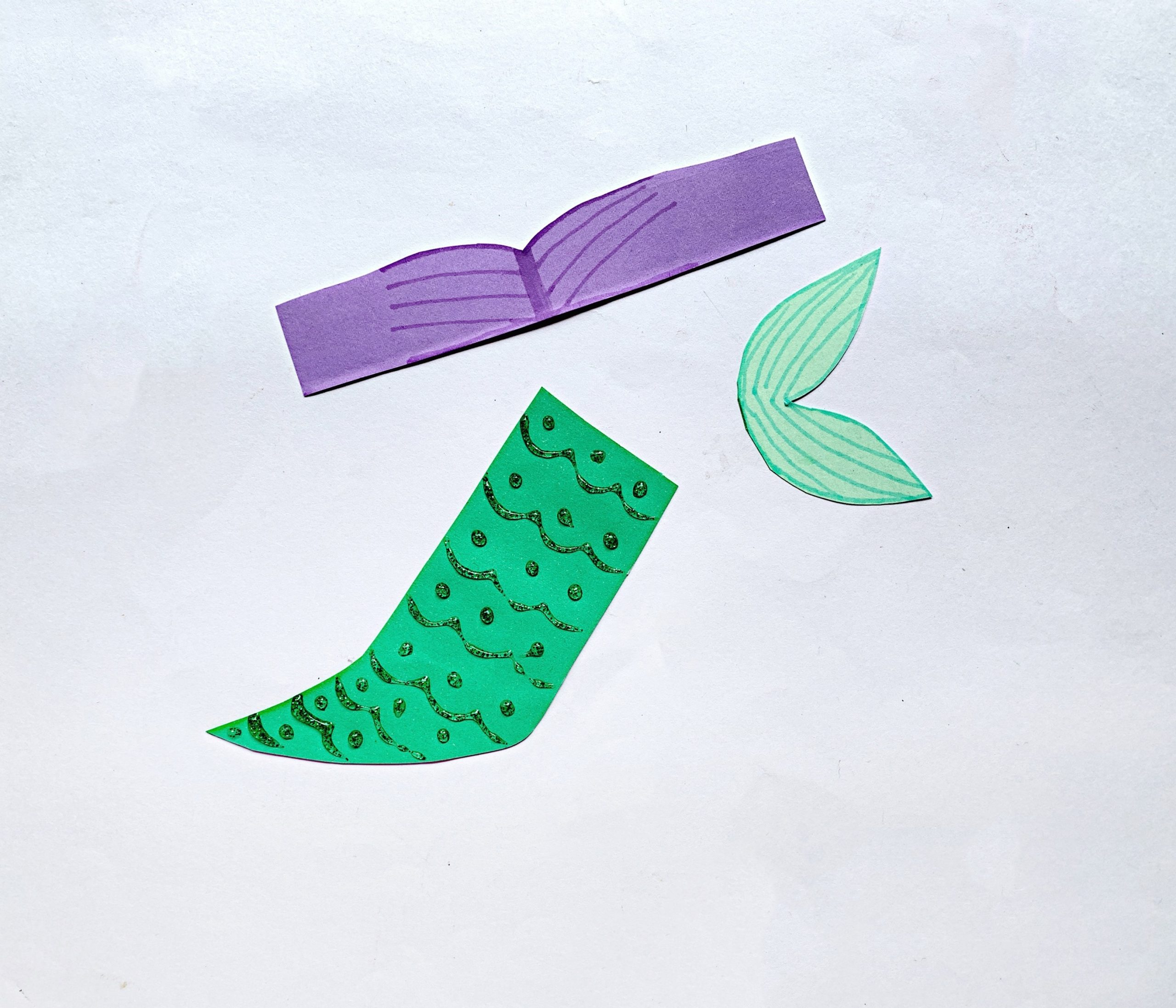 decorate fin and tail for mermaid craft