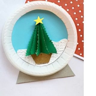 Christmas tree craft with paper plate