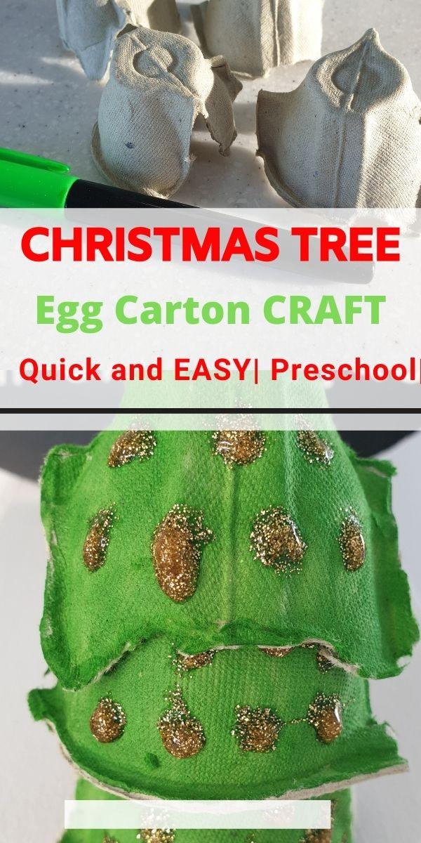 Egg Carton Christmas Tree Craft for Preschool