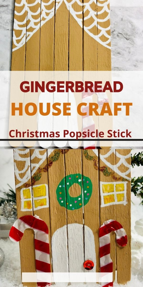 Gingerbread House Craft with Popsicle Sticks