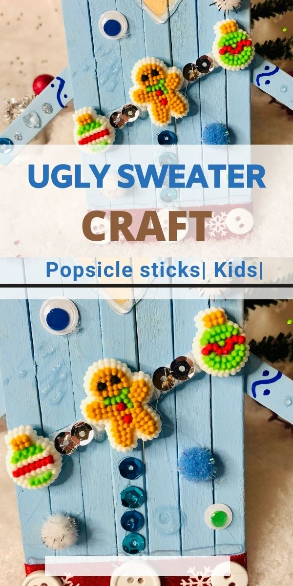 ugly sweater craft with popsicle sticks for kids