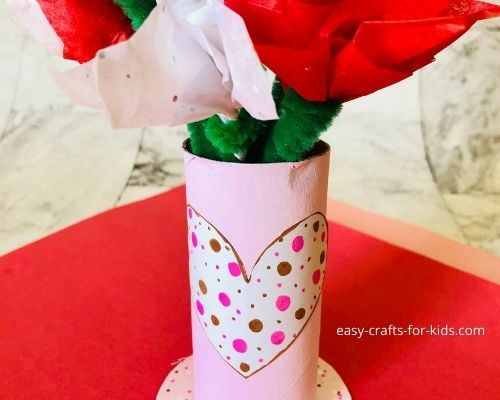 Valentine's Day Toilet Paper Roll Flower Vase