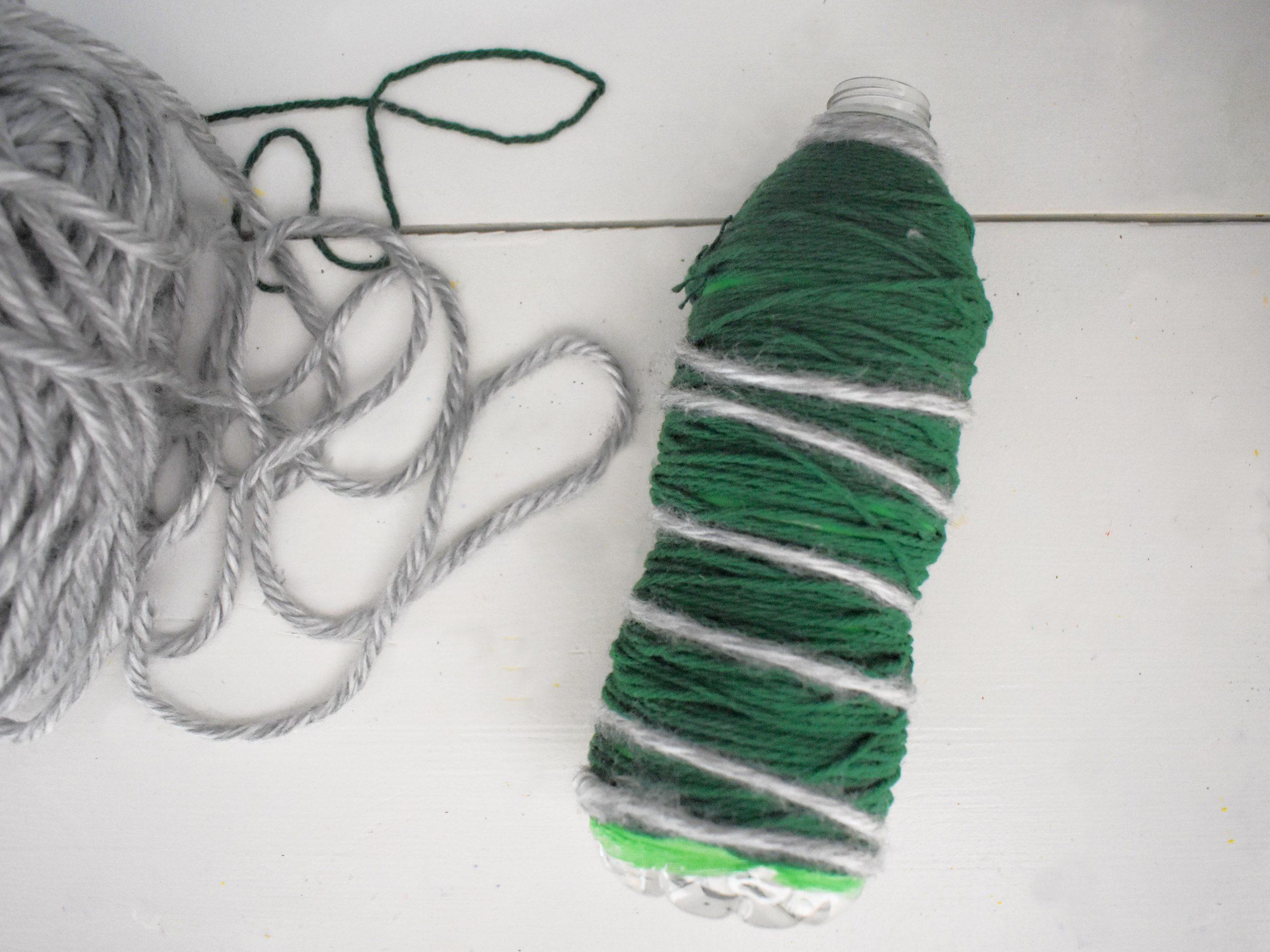 water bottle christmas tree silver yarn wrap