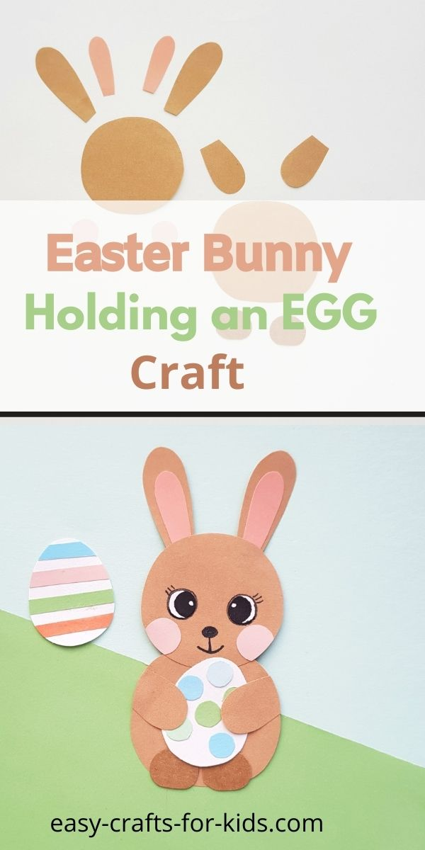 Conejito sosteniendo un huevo de Pascua