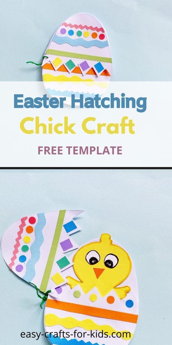 Manualidad de pollito para incubar de Pascua con plantilla