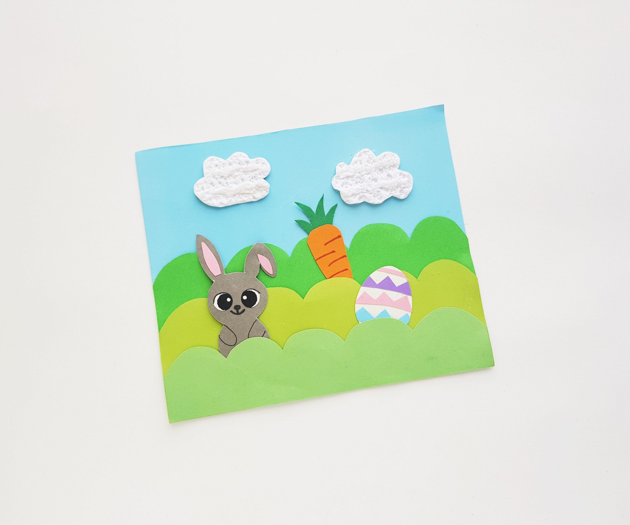 Easter scene craft with bunny, carrots and egg