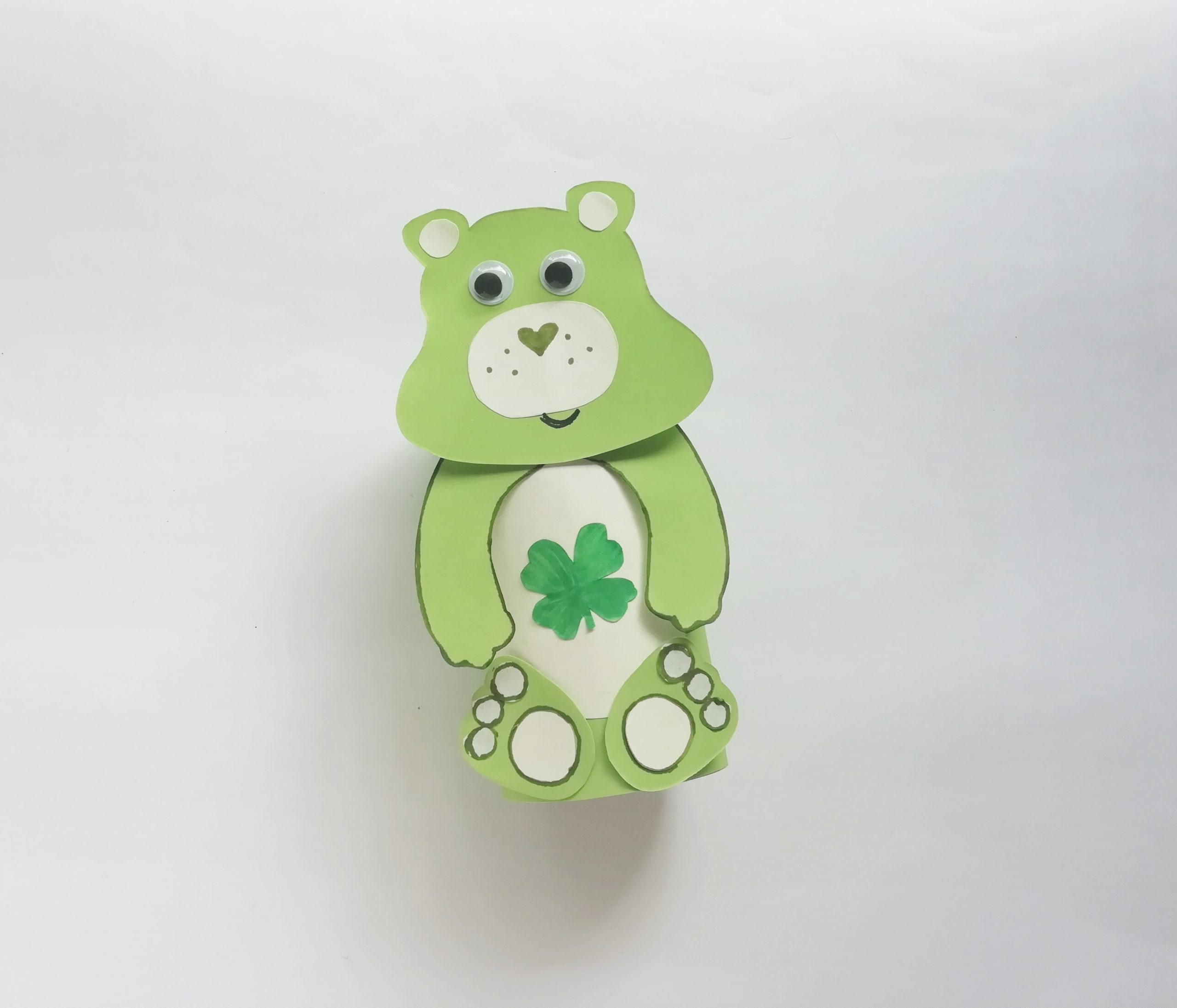 Green Care Bear Toilet Paper Roll Craft