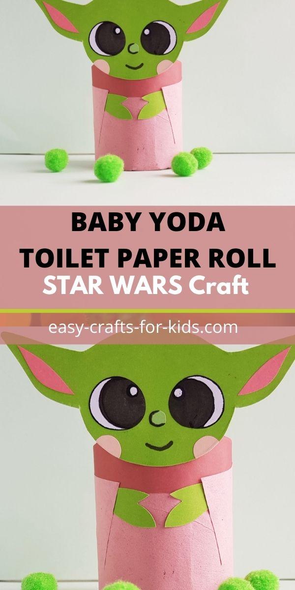 Manualidad con rollo de papel higiénico Baby Yoda