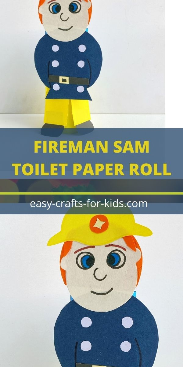 Artesanía Sam el Bombero con rollo de papel higiénico