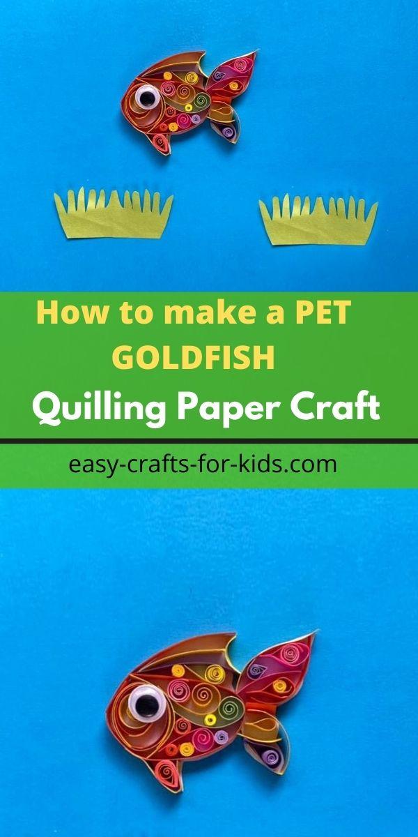 Artesanía de peces de colores de papel con plumas