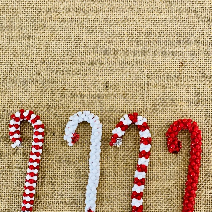 candy cane bead ornaments