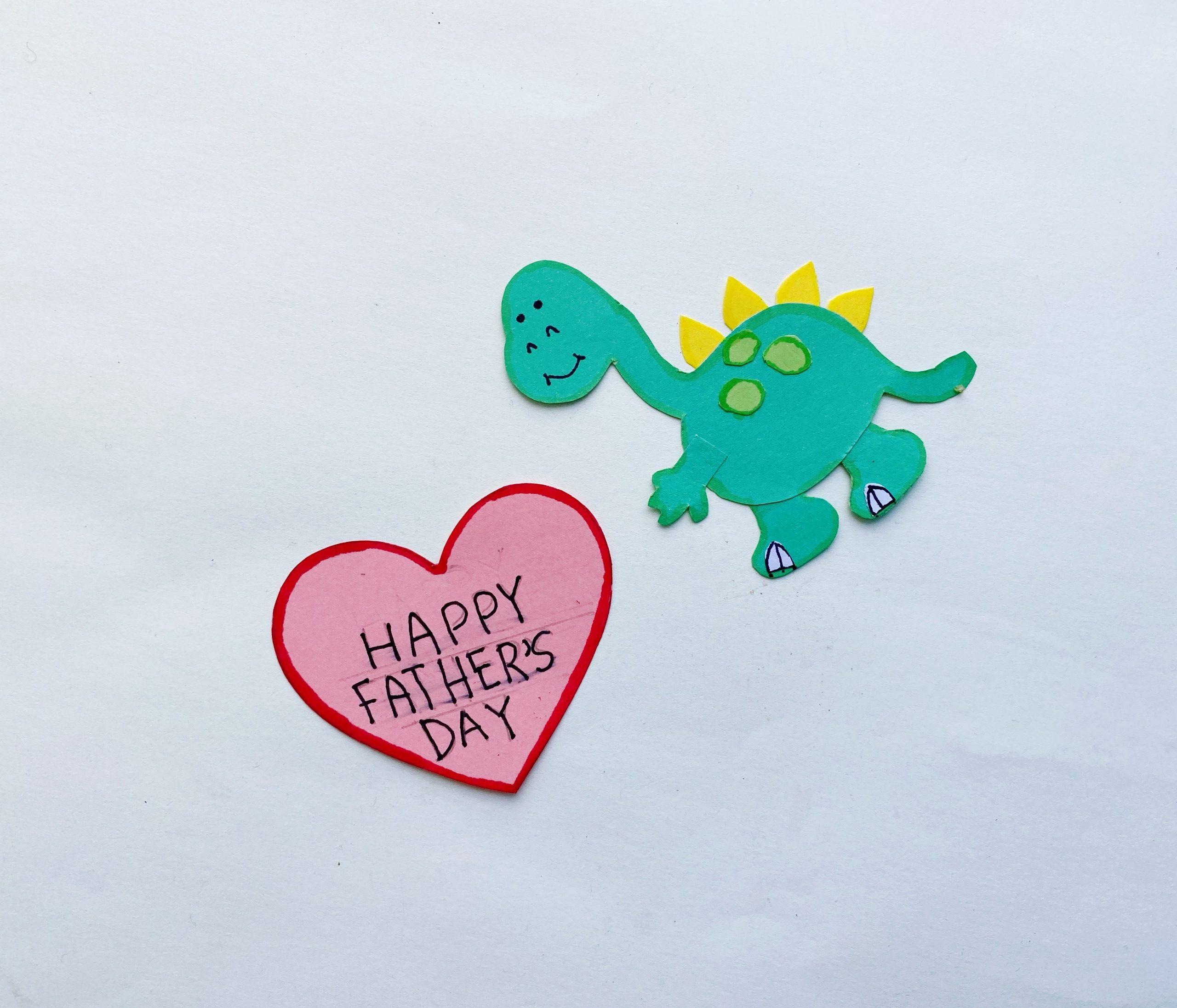 dinosaur with heart pop up card