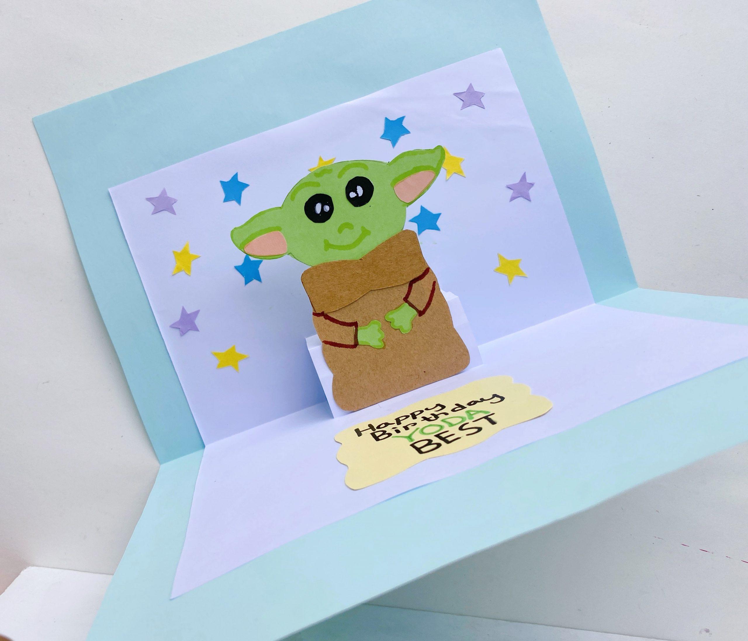 yoda star wars pop up card