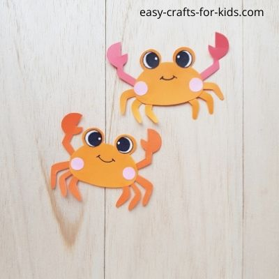 crab craft with paper and scissors