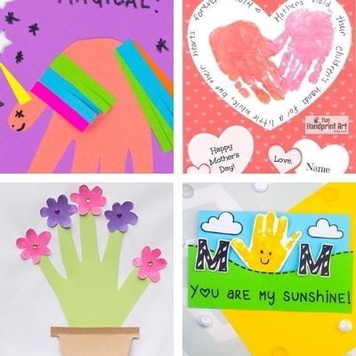 kids handprint crafts for Mothers Day