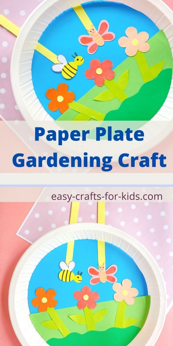 Paper Plate Gardening Craft with Moving Bee and Butterfly