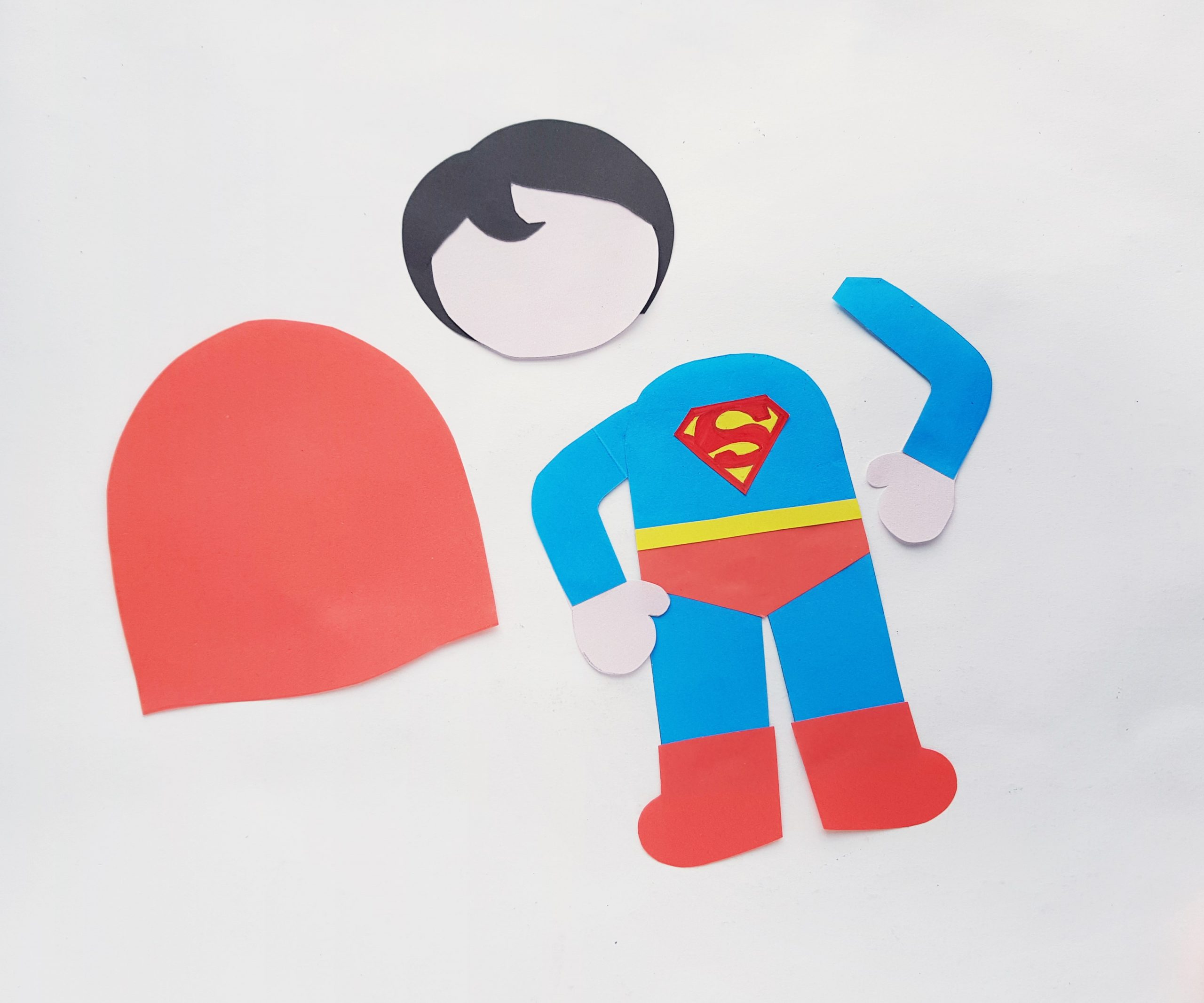 superman craft with paper and scissors