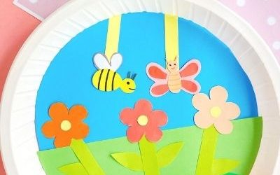 paper plate summer craft with bee and butterfly