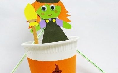 Plastic Cup Pop Up Witch Paper Craft