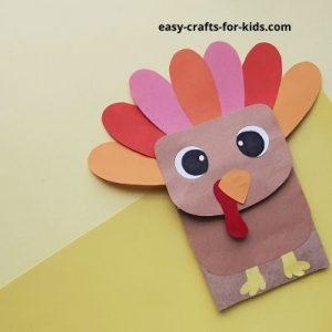 easy turkey paper bag puppet