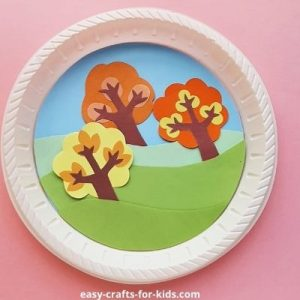 fall tree craft with paper plate