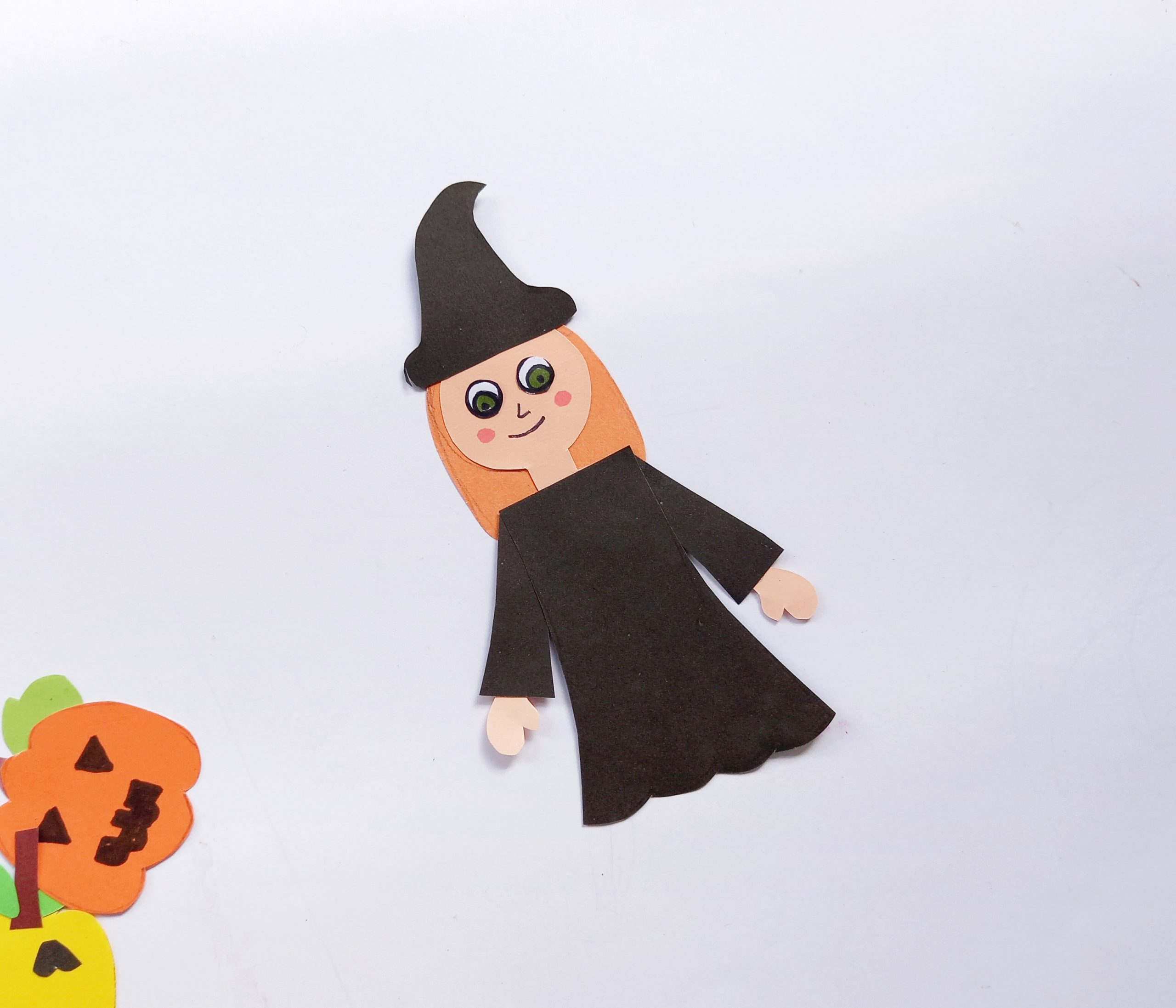 paper witch for Halloween wreath