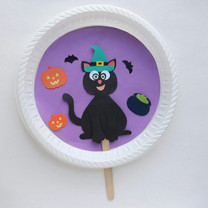 cat witch craft with paper plate